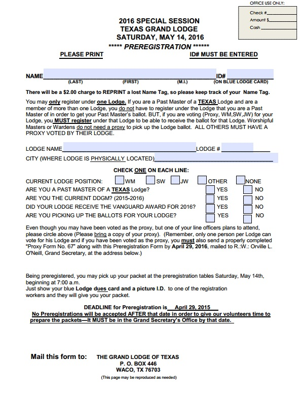 2017 Grand Lodge – Pre-registration Form